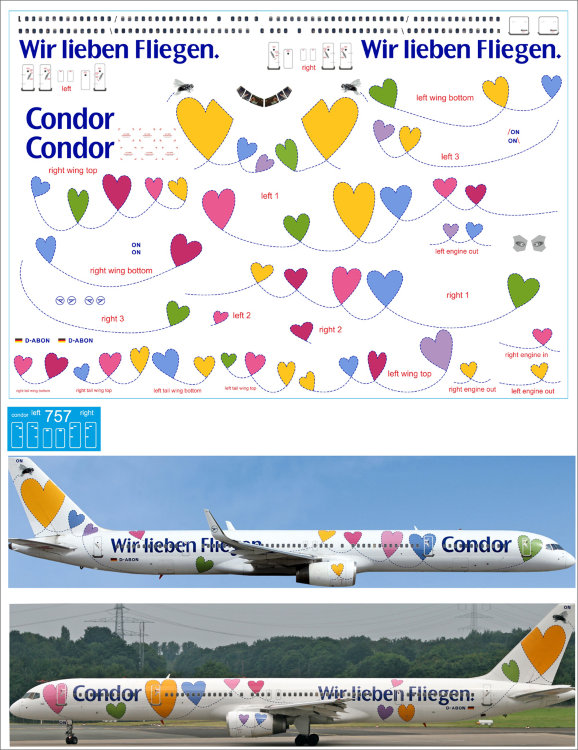 753 laser decal Boeing 757-300  Condor  for Eastern Express. PAS-DECALS. Minicraft 1/144