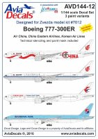 Декаль на Boeing 777-300 air China. Korean Air  1/144