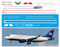 Декаль на Embraer 170 (масштаб 1/144) US Airways