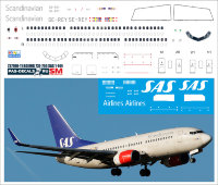 Лазерная декаль на Boeing 737-700 SAS new в масштабе 1/144.